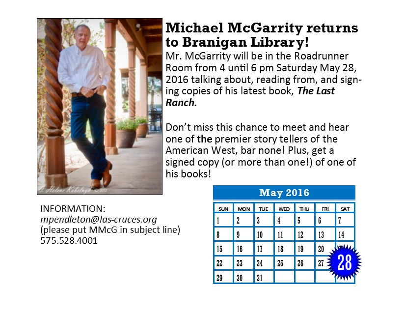 Michael McGarrity returns to discuss his latest book on May 28th from 4-6.